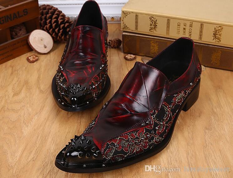 Итальянский стиль мужская мода Красный цветочные печатных свадебные туфли из натуральной кожи ручной работы оксфорды формальный деловой костюм платье обувь