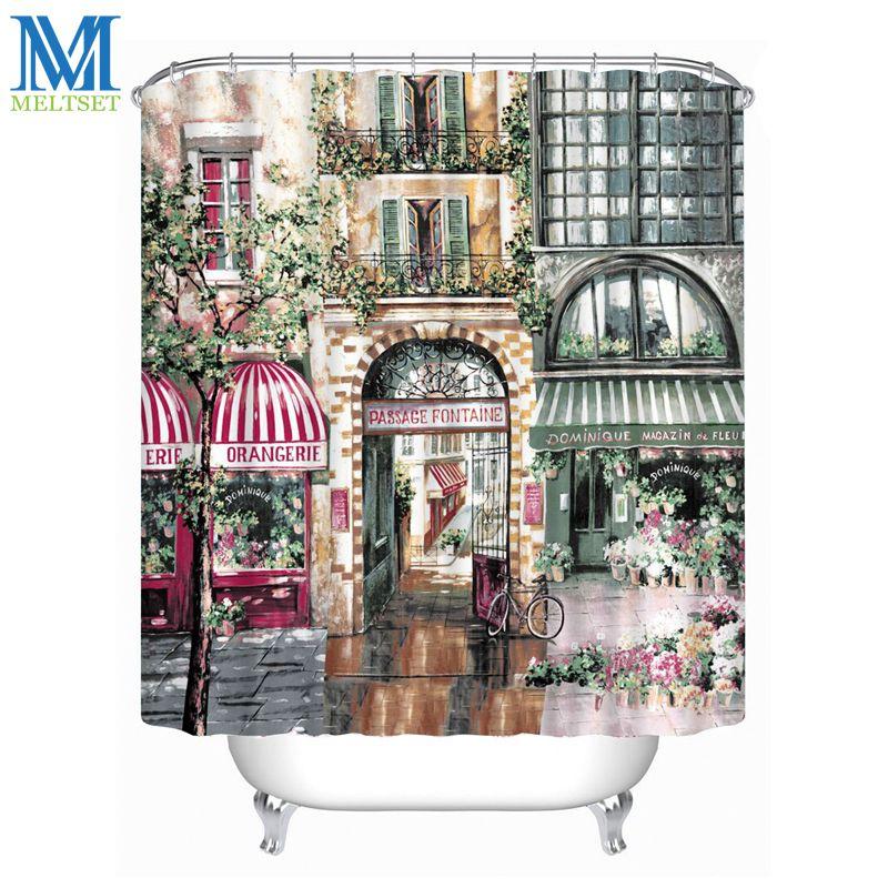 acheter vente en gros retro café maison imperméable rideau de douche