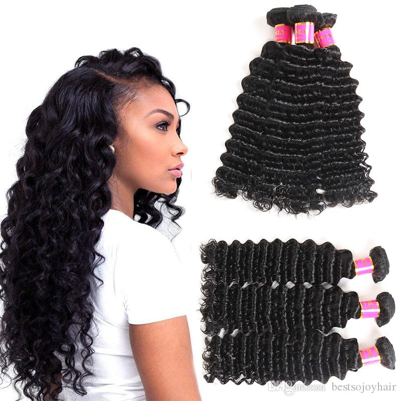 10a Deep Wave Mongolian Hair Weave Natural Color 3 Bundles Deals 100