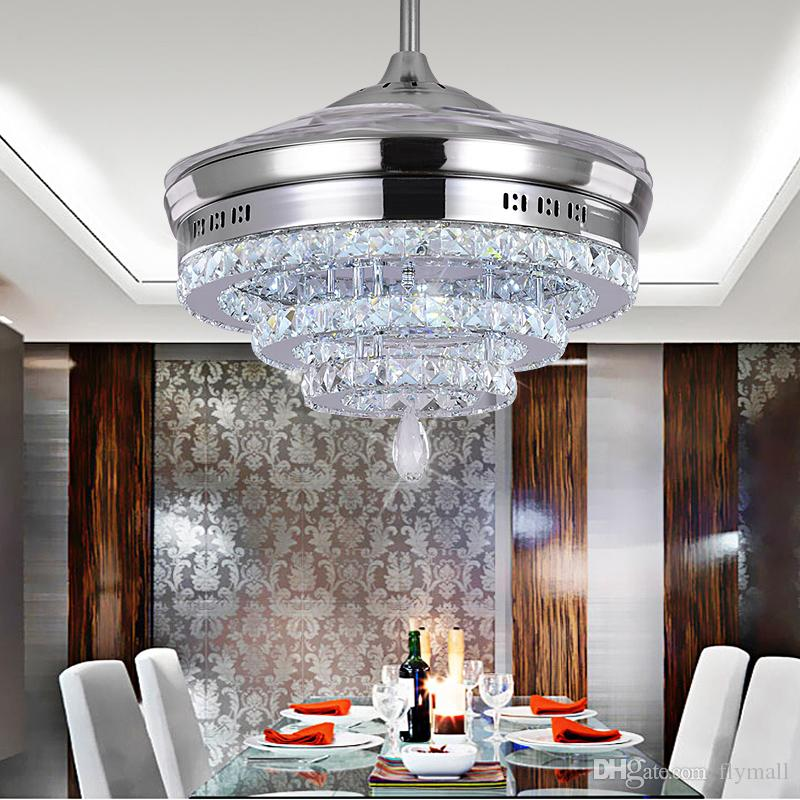 LED Crystal Chandelier Fan Lights Invisible Fan Crystal Lights Living Room Bedroom Restaurant Modern Ceiling Fan 42 Inch with Remote Control