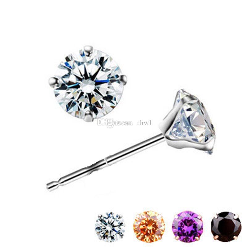 New 925 Sterling Silver Ear Stud Crystal Rhinestone Earring Ear Studs For Women Ladies Girls Jewelry Gift