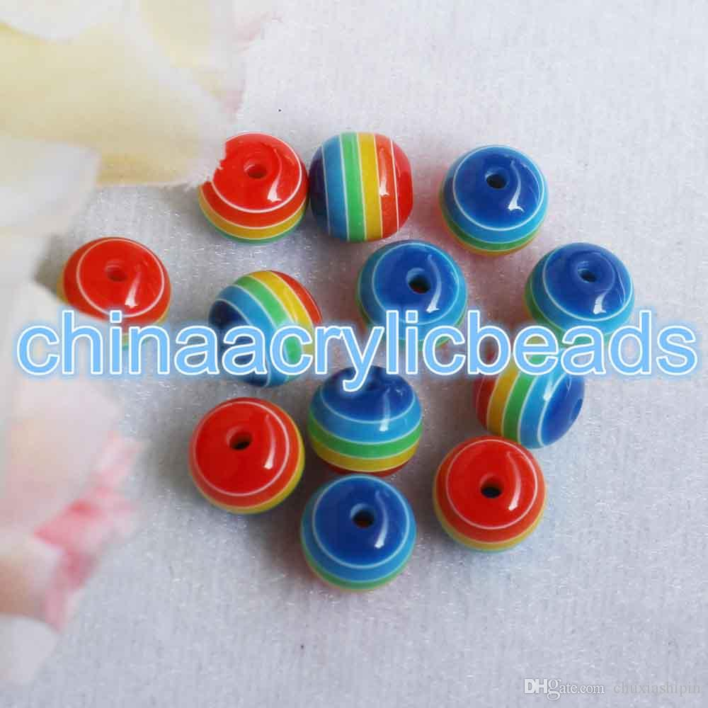6/8/10/12MM Resin Round Striped Beads Rainbow Striped Spacer Gumball Beads Charms Loose Spacer Striped Beads For Jewelry Making