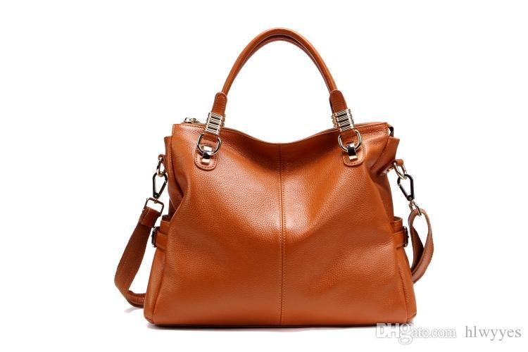 Paste 2017 Women Genuine Leather Handbags Female Shoulder Bags Brown/Black/Orange/Yellow/White/Red 2P0951