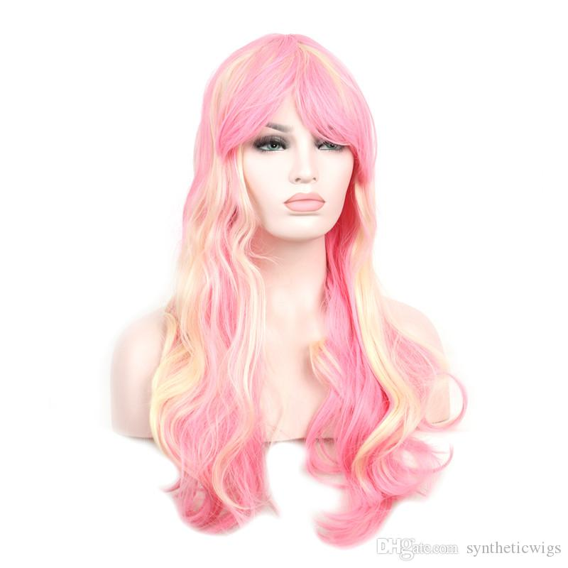 WoodFestival Mixed Color Blonde Pink Wig Cosplay Long Hair Ladies Heat  Resistant Synthetic Wigs For Women Synthetic Lace Front Natural Hair Wigs  Uk From ... 1fa117d461