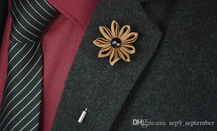 Rhinestone Brooches Handmade Multicolor Casual Mens Brooch Exquisite Flower Lapel Pins Brooches Wedding Groom Lapel Pin