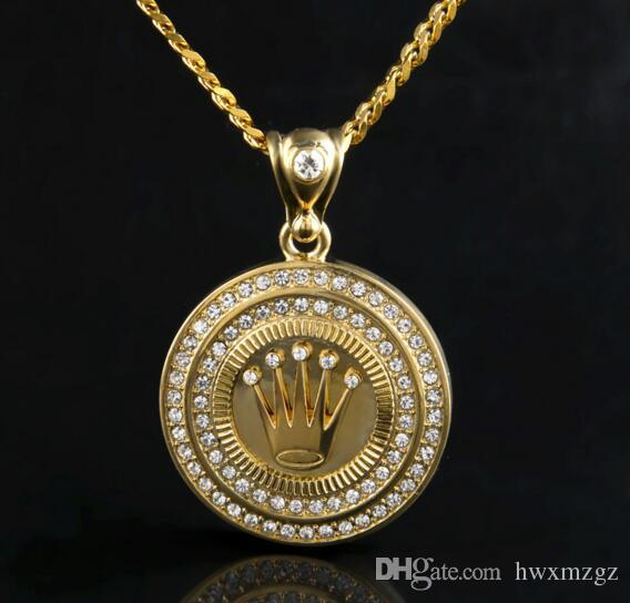Hip Hop 18K Silver Gold Plated King Crown Pendant Lced Out Round Bling Crystal Pendant Necklace Long Cuban Chain Set Men Jewelry