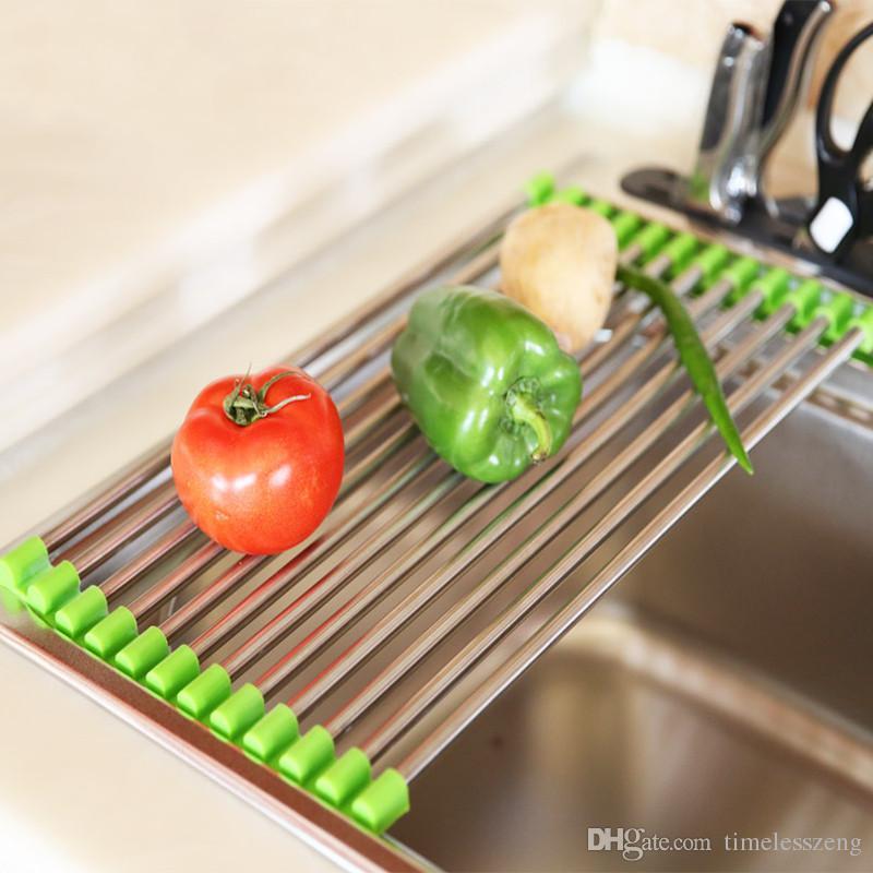 Kitchen sinkdrying rack Stainless steel folding draining rack Multifunctional fruit and vegetable dish wash tank filter water shelf