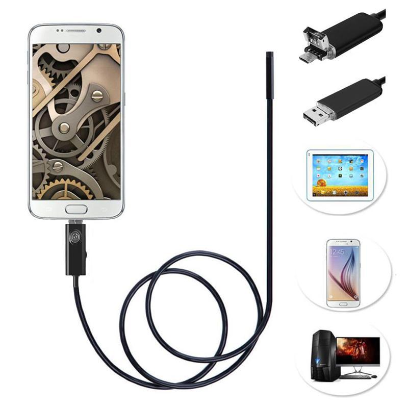 2017 Nouvelle 5.5mm Lentille 2M USB Endoscope IP67 Caméra Étanche Endoscope Andorid 6 LED Mini Caméra 2 En 1 Android Téléphone Endoscopio