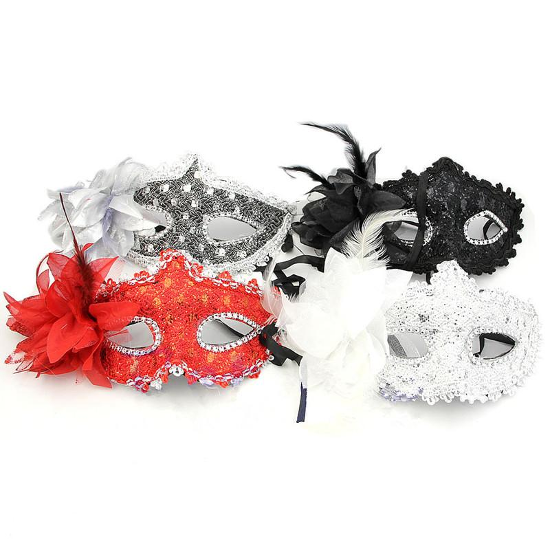 Wholesale-1PCS Half Face Noble Women Lace Eye Face Mask Masquerade Ball Prom Halloween Costume Party 4 Colors Upper Free Shipping