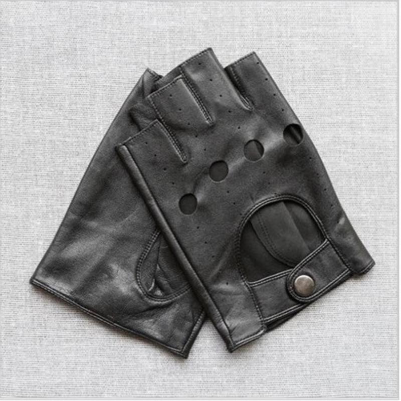 جلد الغنم القيادة نصف اصبع قفازات جلد طبيعي نشط الأسود سائق نصف اصبع قفازات للآباء اليوم هدية رجل