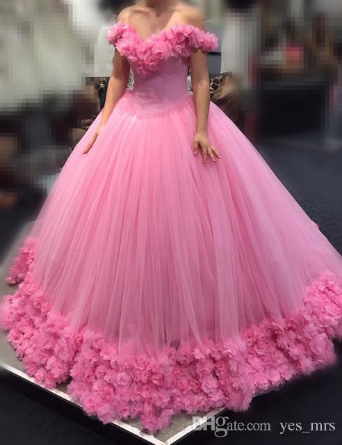 2017 Hot Pink Quinceanera Ball Gown Dresses Off Shoulder