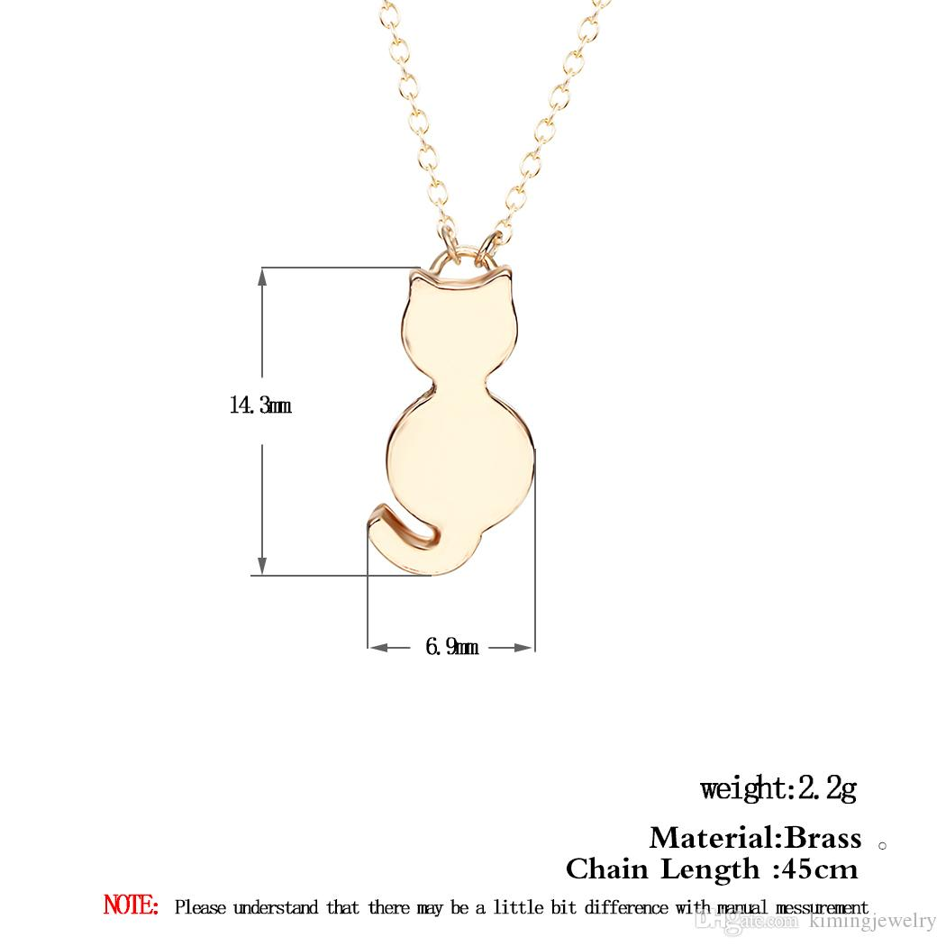 Lovely Silver Necklace Gift for Women Girls Tiny Cute Cat Pendants Fancy Jewelry Charm Friendship Pendant