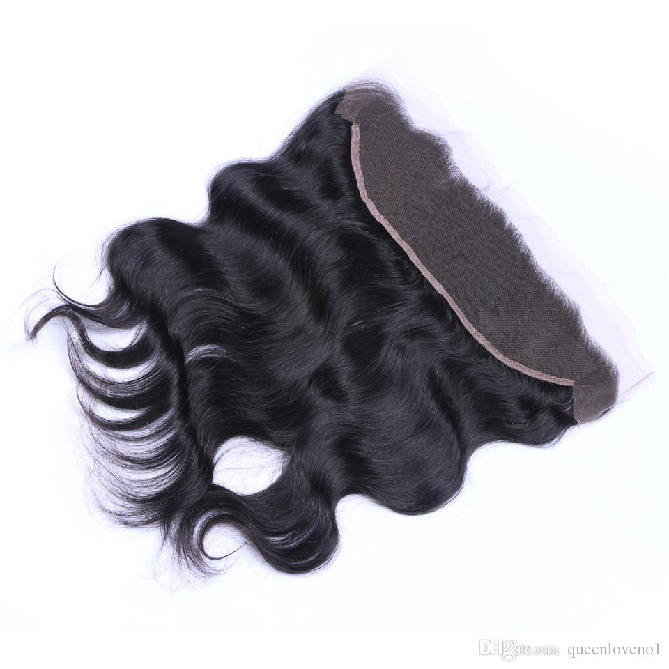 Brasiliani dell'onda del corpo 13x4 chiusure frontali del merletto parte libera 100% indiano malese peruviano cambogiano non trasformato vergine umano con i capelli del bambino