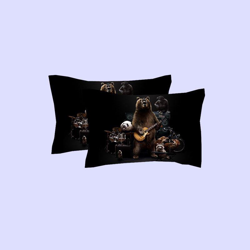 Instrumento musical Banda de cantante Oso Conjuntos de ropa de cama de impresión Doble tamaño Queen King Tela de algodón Fundas de edredón de algodón Fundas de almohadas Consolador Animal