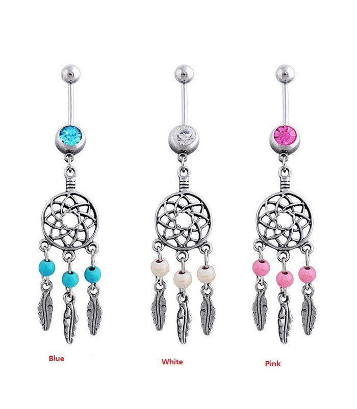 Dream Catcher Austria Crystal Navel Piercing Nombril Surgical Steel Belly Button Ring Navel Piercing Pircing Ombligo