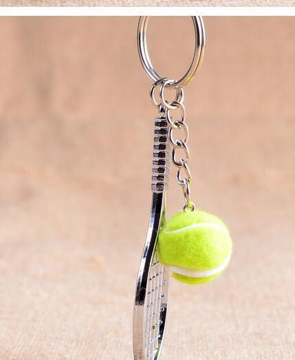 100 adet / grup fedex hızlı ücretsiz kargo unisex rahat spor tenis anahtarlık Mini Metal Tenis Topu Spor Anahtarlık 7.9 cm