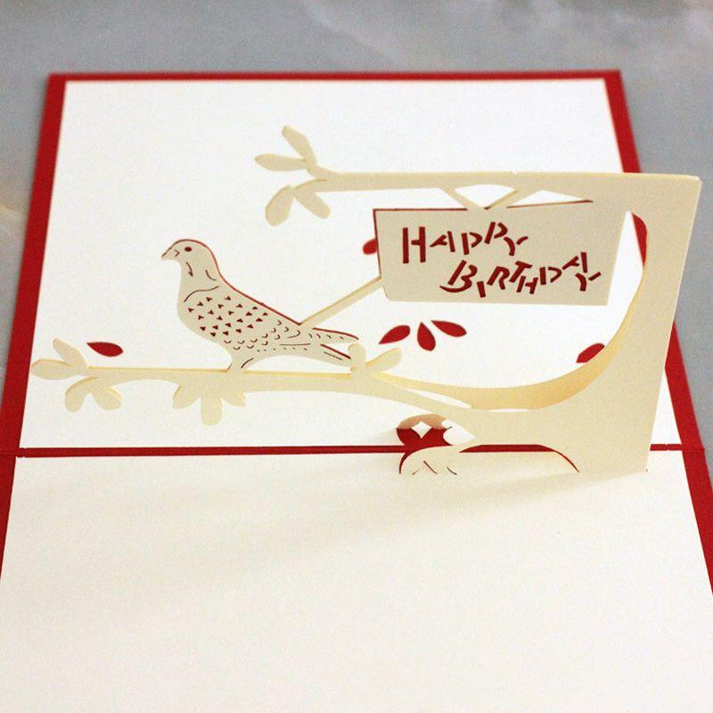 3D Pop Up Cute Bird Happy Birthday Love Gift Greeting Card Pigeon Pattern Paper Event Party Supplies Dog Christmas Cards From