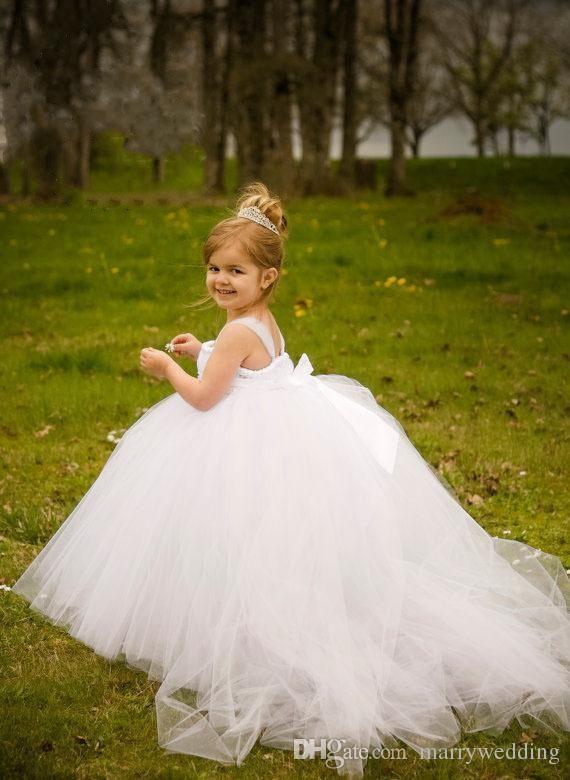 White Ball Gown Cheap Flower Girl's Dresses For wedding Little Kids Floor Length Cute Little girls Tutu pageant Gowns for Communion Dress