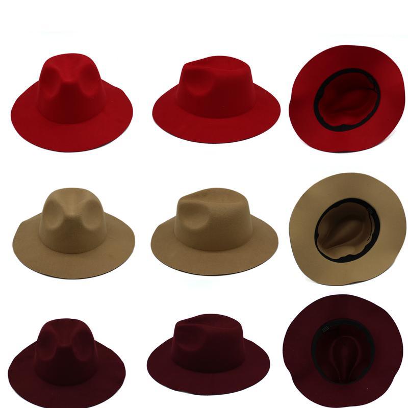 Compre Estilo Británico Otoño Invierno Sombreros De Ala Ancha Para Mujeres  Niñas Vintage Lana Sólido Señoras Sombreros Suaves Gorras De Jazz Sombreros  es A ... 69f54c8c4e4