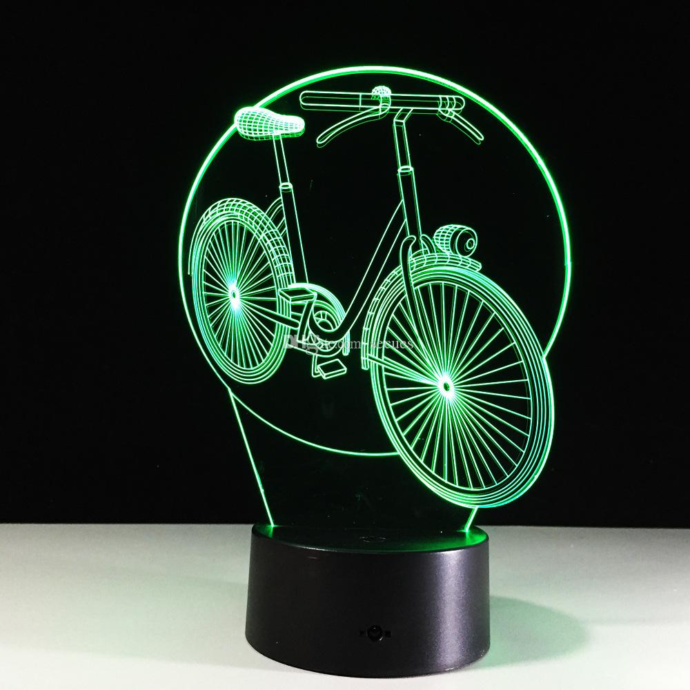Awsome Bike Bikecycle n 3D Illusion Nachtlampe 3D Optische Lampe AA Batterie DC 5 V Großhandel Dropship Kostenloser Versand
