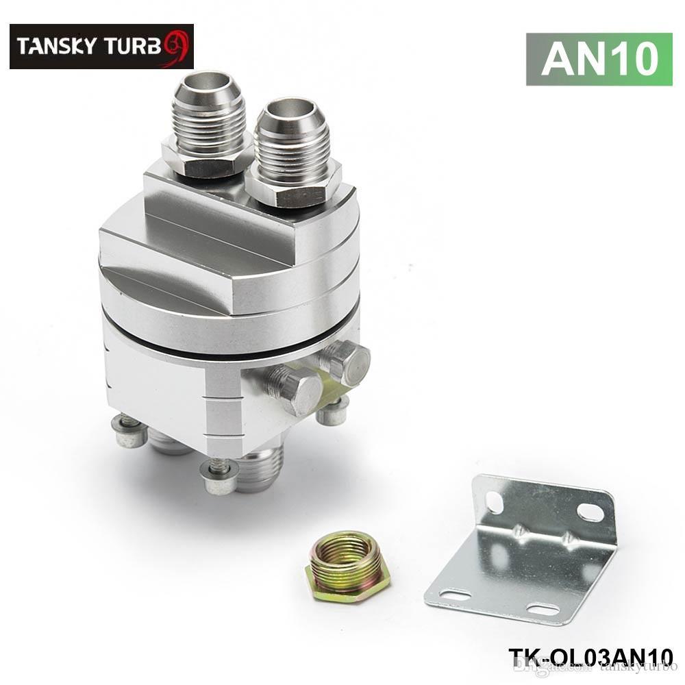 Tansky - Högkvalitativ Universal Oljefilter Kylare Sandwich Plate Adapter Silver TK-OL03 AN8 / AN10 har i lager