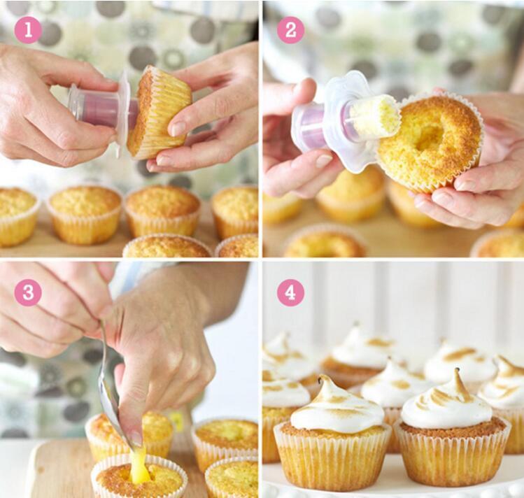 친환경 케이크 도구 플라스틱 주방 컵케익 머핀 케이크 Corer 플런저 과자 장식 커터 모델 도구 임의의 색상 케이크 도구