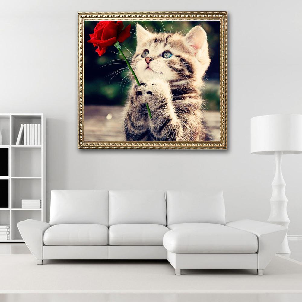 التطريز الأحمر روز و القط 5d الماس التطريز اللوحة الحيوانات أنماط مربع حجر الراين قماش عبر غرزة الفن ديكور المنزل
