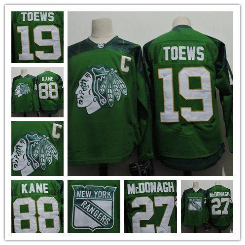 7e898438561 ... Jersey Mens Chicago Blackhawks 88 Patrick Kane St. Patrick Day 19 Jonathan  Toews New York Rangers ...