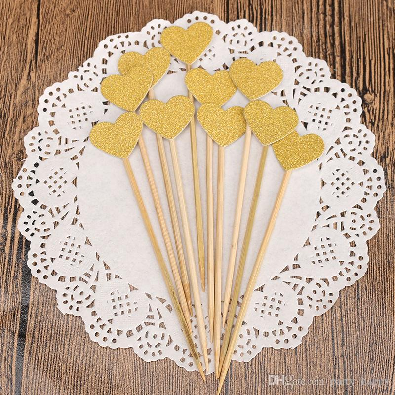 Heart Cake Topper Supplies Baby Shower Decorations Wedding Party Gold Love Flag Birthday Party Decorations Kids Cake Decoration