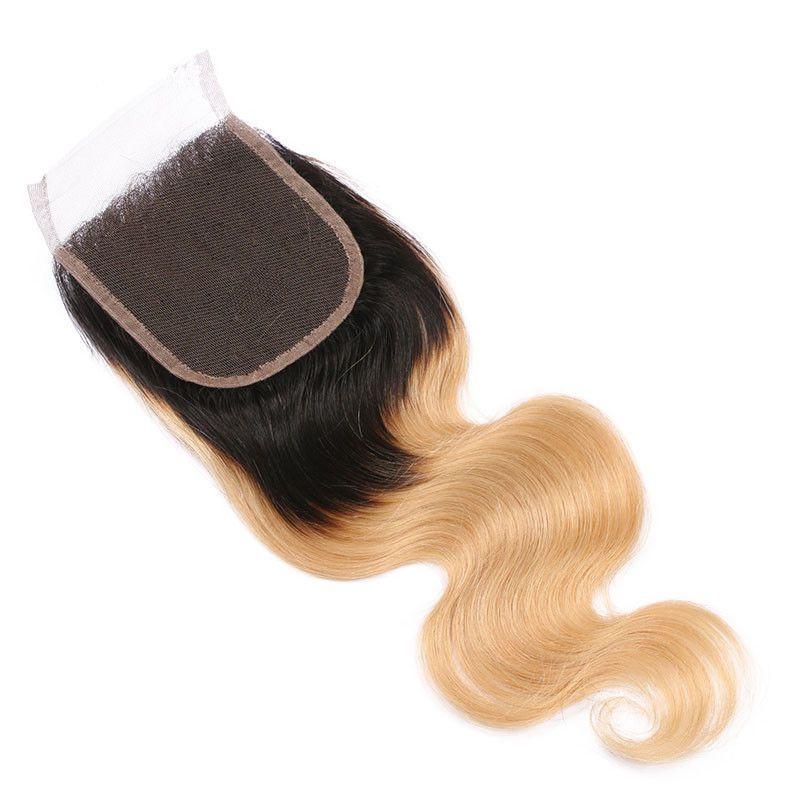 Bal Ile Sarışın Ombre Saç Dantel Kapatma Koyu Kökleri İnsan Saç Demetleri Ile 4 * 4 Dantel Üst Kapatma Bebek Saç Etrafında