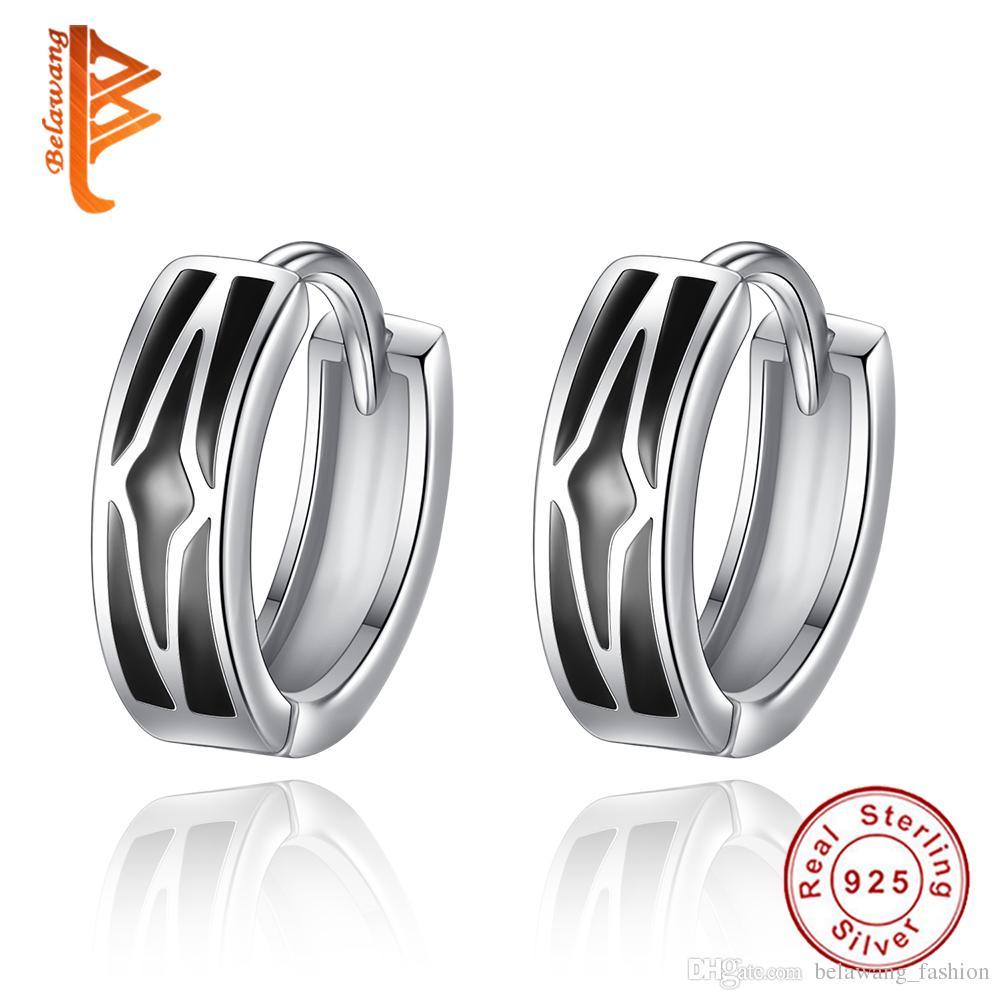 7214c4fee BELAWANG Unique Design Black Enamel Star Circle Hoop Earrings ...