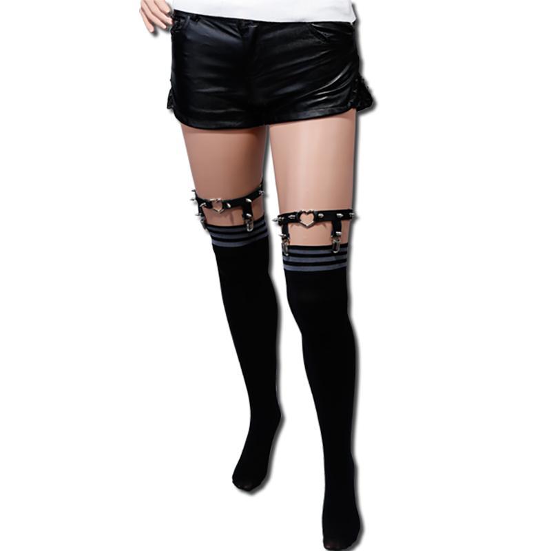 chaussette jarretelles pour femmes rivets punk sexy jarretières pour bas legging harjuku punk garter