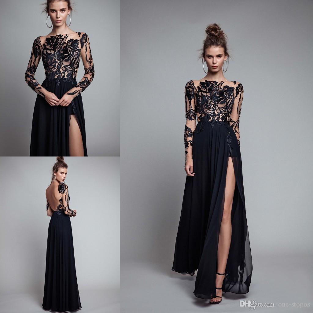 Long sleeve lace black prom dresses