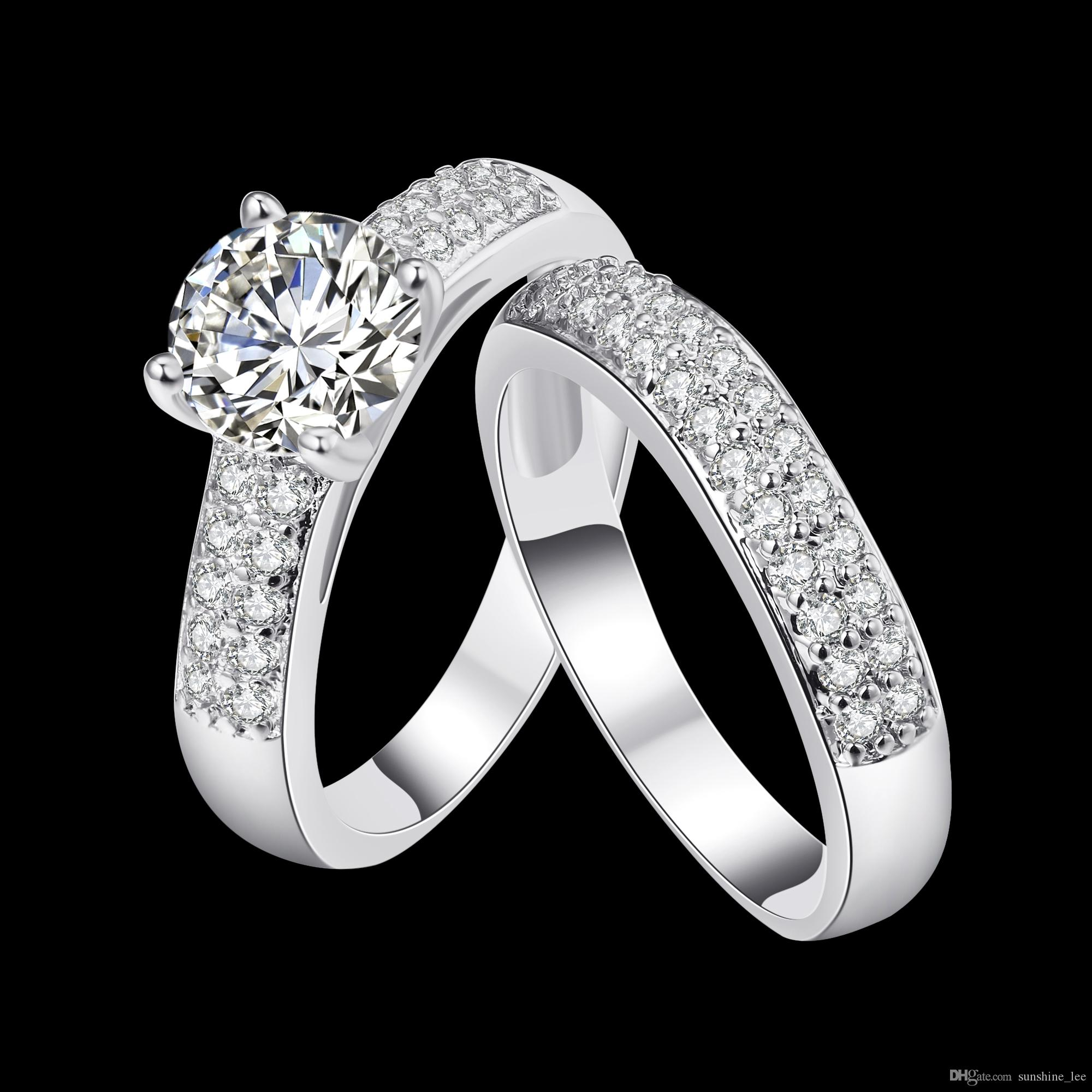 Nidalee Luxury Round Rings Fashion Full Drill Zircon Crystal From Swarovski Rings Women Rings Jewelry For Party wedding
