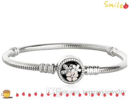 TopeasyJewelry Original 925 Sterling Silver Poetic Blooms Clip Snake Chain Bracelets For Women Mixed Enamel Flower Clasps Charm Bracelet