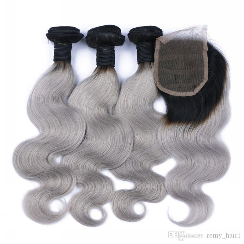 Malaysian Ombre 4x4 Lace Closure With 3Bundles #1B/Grey Two Tone Colored Human Hair With Closure Body Wave Silver Grey Ombre Weaves