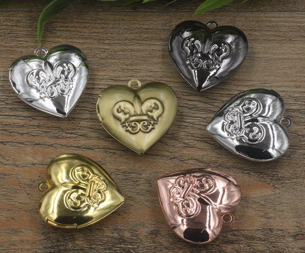 34*12MM Silver/antique bronze/rose gold/black gun heart photo locket metal charms jewelry, fleur de lis picture frame pendants wish box bulk