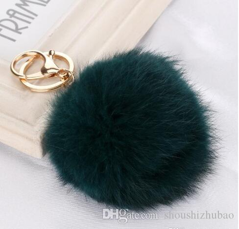 Lovely fur explosion gold metal buckle 8cm Rabbit Fur Ball Pendant Fashion Bag Keychain car ornaments