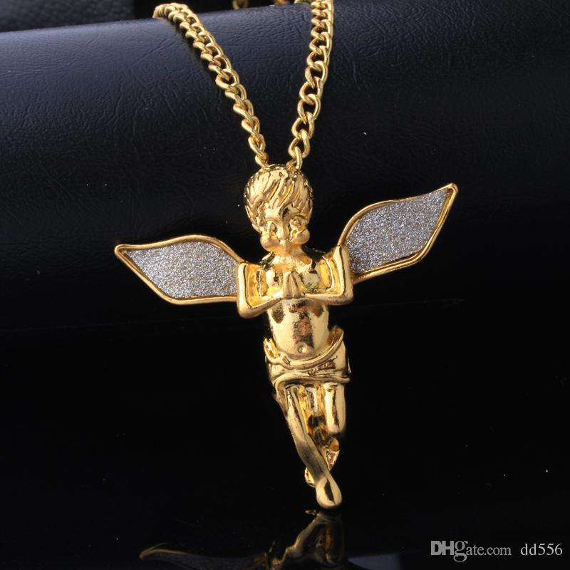 Mixed Wholesale Punk Bling Iced Out Angel Jesus Superman S Dollar Crystal 18K Gold Cross Necklace&Pendants Hip Hop Jewelry for Men Women