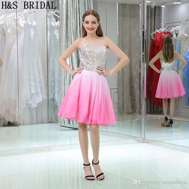Fotos reales de moda color mezclado gasa vestidos de graduación cortos Niñas vestidos de fiesta de baile Shinny vestido de cuentas B032