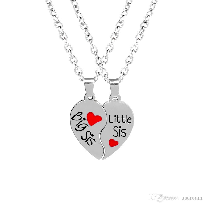 Wholesale big sis little sis love heart necklace 2 part broken wholesale big sis little sis love heart necklace 2 part broken heart pendants best sister friends jewelry for women kids christmas gift 162119 key pendant mozeypictures Images