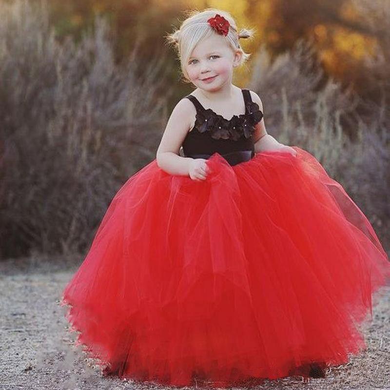 Rosso e nero principessa Flower Girl Dresses 2019 abiti da prima comunione piano lunghezza tulle ball gown abiti bambini bambino pageant abiti f050