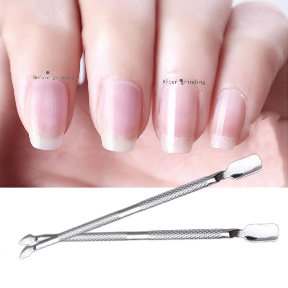 Stainless Steel Cuticle Nail Pusher Double Ended Spoon Callus ...