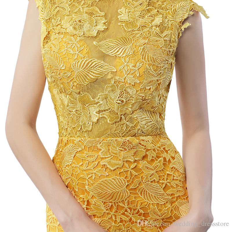 Engagement Dresses 2017 Robes De Soiree 2017 Longue Yellow Lace Mermaid Evening Dresses Sexy Backless Prom Dress