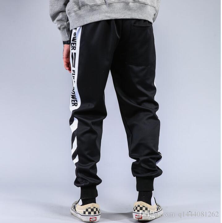 Supreman Listrado Patchwork Harem Pants Mens Hip Hop Impresso Cor Bloco Casual Corredores Sweatpants Calças Masculinas Streetwear