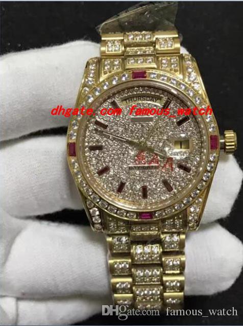 Compre Reloj De Pulsera De Lujo 18K Para Hombre Oro Amarillo 36 MM  Movimiento Mecánico Automático Diamante Rojo Relojes De Los Hombres De  Calidad Superior A ... d1d04cbc72c6