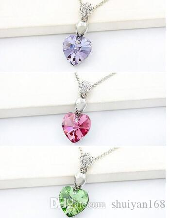 Crystal Heart Ocean Necklaces Sets Pendant Stud Earrings Austrian Crystal Charms Pendant Necklace Set Korean Jewelry Factory Direct Sale