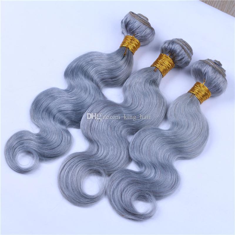 Saf renk Şerit Gri Vücut Dalga İnsan Saç Demetleri Ile dantel Kapatma 4x4 Brezilyalı Bakire Gri Saç Atkı Ile 3 adet Kapatma