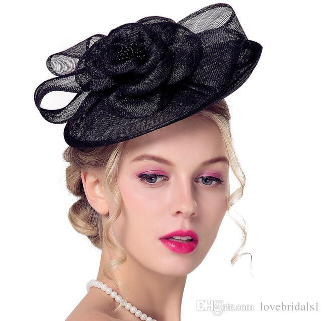 2017 mode vintage britannique rétro dames lin chapeaux chapeaux dîners banquets parties robes de mariage chapeaux de mariée bandeau