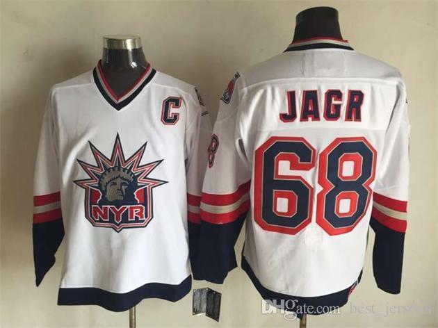 Нью-Йорк Хоккей # 2 Брайан Литч 35 Рихтер 9 Адам Грейвс 68 Ягр 99 Гретцки 11 Мессьер БЕЛЫЙ СИНИЙ Трикотажные изделия